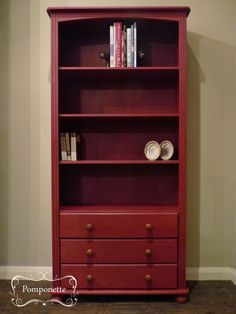 Pine Bookcase. @Annie Compean Sloan Burgundy #chalkpaint with Country Grey interior SOLD
