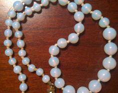 Vintage Les Bernard signed glass bead necklace