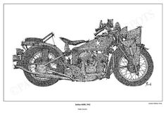 INDIAN 640B 1942 Original Handmade Drawing Print by drawspots, $42.00