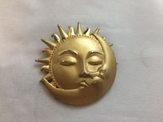 VTG. JJ JONETTE SHINY & MATTE GOLD TONE SUN HUGGING THE MOON BROOCH~  | eBay