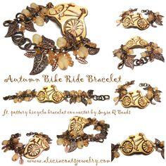 SOLD / Hand-made bracelet by Alicia Coats via www.aliciacoatsjewelry.com. Featuring pottery bicycle bracelet bar by Suzie Q Beads. OOAK Wax, Bicycle, Pottery, Pendants, Coats, Bracelets, Leather, Handmade, Jewelry