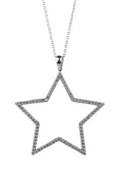 Sterling Silver Pave CZ Open Star Necklace
