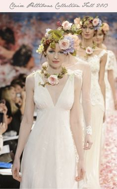 Flower crowns played a big role in the Claire Pettibone Wedding Dress Collection for Fall 2013
