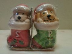 Christmas Puppy Dogs Salt and Pepper Set Ceramic New In Sealed Package