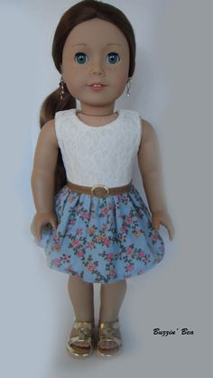 Lace Floral Dress with Belt  American Girl Doll by BuzzinBea