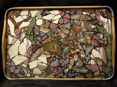 One Of A Kind Eco Friendly  Mosaic Tray by claudiagilldesigns, $195.00