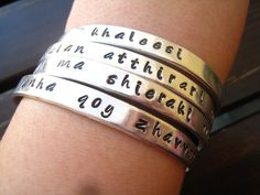 "Game of Thrones Dothraki terms of endearment bangles    ""Shekh ma Shieraki Anni"", which means ""My Sun and Stars"". This is what Daenerys calls her love, Khal Drogo, and it is such a lovely term of endearment.  #gameofthrones  #geekchic"