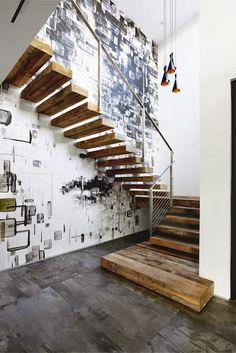 ATELIER RUE VERTE , le blog: Touches de bois / Le détail qui sublime cet escalier : les marches très épaisses mais surtout la première qui repose à même le sol.