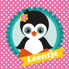 geboortekaartje pinguïn, hip en vrolijk geboortekaartje met een pinquïn, achtergrond in roze kleuren.
