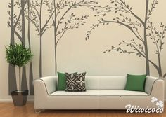 wall decals Make with Silhouette SD in dark grey bark with grey and 2 different greens for the leaves.