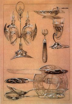 Page: Studies    Artist: Alphonse Mucha    Completion Date: 1902    Style: Art Nouveau (Modern)    Genre: design    Technique: gouache    Dimensions: 52 x 39 cm    Tags: dishware-and-cutlery, designs-and-sketches