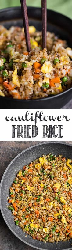 """Cauliflower Fried Rice is an easy to make a tasty, low carb meal packed with vitamins and flavor! This """"rice"""" is so good you won't even think you're eating healthy! Minced raw cauliflower is the perfect substitute for rice in this recipe. #cauliflower #cauliflowerrice #cauliflowerfriedrice #lowcarb"""