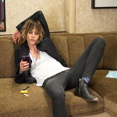 "So Phone-y: ""God love the iPhone. Best time waster of the century."" Kate Moennig to Rolling Stone photo by Lindsey Byrnes #katemoennig #raydonovan"