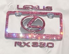 ICY Glam Swarovski Crystal Lexus set includes: Two sparkling Lexus Emblems of your favorite color (hood & trunk) + one matching ICY Signature Swarovski License Plate frame with over 2000 of sparkling Swarovski gems; LEXUS letters, RX330, or other 5 letters of your Lexus model. Whats your ICY color?