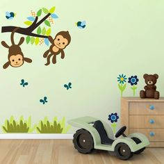 monkey tree scene wall sticker by mirrorin | notonthehighstreet.com