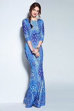 High Quality New 2016 Designer Formal Dress Women's 3/4 Sleeve Blue and white Porcelain Print Maxi Long Party Dress Bodycon