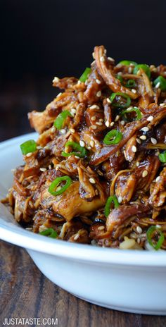 Slow Cooker Honey Garlic Chicken #recipe from justataste.com