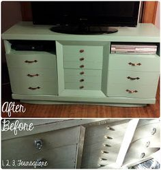 One, Two, Three, Foursquare: Dresser to TV Stand Reveal! Entertainment center diy refinish paint teal blue green