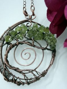 Wire Wrapped Pendant Tree of Life Beaded door PerfectlyTwisted