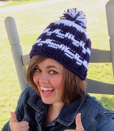 Blue crochet Hat, Crochet beanie pompom hat, striped pompom hat, college, high school pompom, ski pompom hat by OnceUponARoll, $19.00 USD