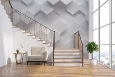 An L-shaped stairs can be a stunning addition to your home. They are a popular choice for people looking to make the Nottingham, L Shaped Stairs, Gold Wall Decor, 3d Art, Stair Railing, Railings, Living Room Interior, Interior Stairs, Gold Walls
