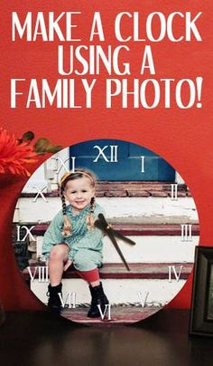 Update an old or ugly clock with a family photo!-Christmas gift for kyle