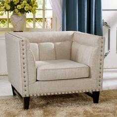 Baxton Studio Stapleton Beige Linen Modern Accent Chair   Overstock.com Shopping - Great Deals on Baxton Studio Chairs