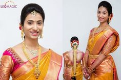 Bride in Mustard Traditional Saree