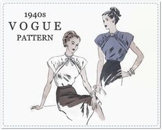 1940s Sewing Pattern - Vintage Vogue 5658 - Misses Blouse with Cap Sleeves and Front Yoke Detail - Size 14 Bust 32 - Chic Retro Blouse by EightMileVintageSews on Etsy