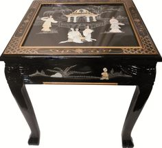 dragon leg oriental end table inlaid pearl in black lacquer Asian Furniture, Chinese Furniture, Oriental Furniture, Blue And White Vase, White Vases, Black Platform Bed, Dragon Table, Oriental Decor, Luxury Chairs