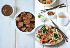 gingered udon and fried tofu