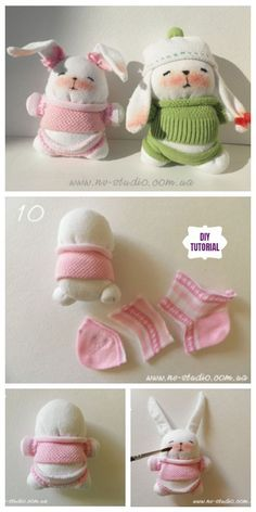 Make these cute sock bunnies to perk up your Spring home decor or to add a festive touch to your Easter Decor and baskets Diy Sock Toys, Sock Crafts, Bunny Crafts, Easter Crafts, Diy Crafts, Sock Bunny, Sock Dolls, Sock Animals, Clay Animals