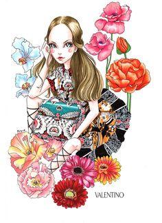 Illustration.Files: Valentino MIME Bag Fashion Illustration by Olivia Au