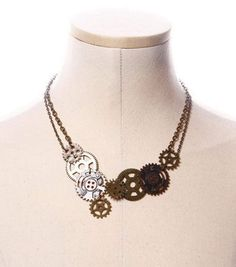 Collier chaine steampunk à engrenages RQ-BL