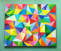 Triangles / Abstract Painting 24x20 acrylic Painting / by tushtush, $220.00