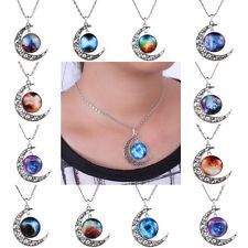 New Galactic Tone Crescent Moon Necklace Univers Glass Cabochon Pendant Silver | http://www.cbuystore.com/page/viewProduct/10034897 | United States