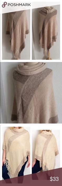 """Cream poncho (L-3x) HOLY SOFTNESS!! This beige poncho is the closest you'll ever get to sitting on a cloud! 100% acrylic. Measures 45"""" at longest point. Will fit L-3x. I am a 2x and this fits me very nicely.  ⭐️This item is brand new from manufacturer with tags.  🚫NO TRADES 💲Price is firm unless bundled 💰Ask about bundle discounts Availability: 4 Sweaters Shrugs & Ponchos"""