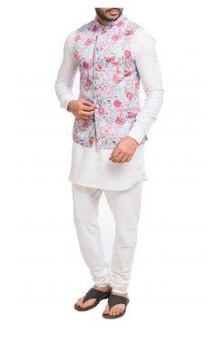 White kurta and matching churidar, a baby blue base printed Nehru jacket with an attached pocket square. Shop now! Nehru Jacket For Men, Nehru Jackets, Mens Ethnic Wear, White Kurta, Wedding Store, Pocket Square, Shop Now, Menswear, Indian