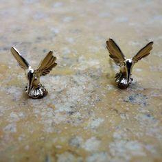 Hummingbird Stud Earrings - Handmade in 14k Gold or Sterling Silver