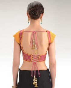 Magenta Brocade Blouse with Yellow Beaded Cap Sleeves - Exclusively In