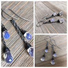 Min Favorit Opalite Wrapped Briolette Duo & Oxidized Silver Artisan Earrings  #minfavorit #DropDangle #opaliteearrings #wrapearrings