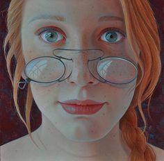 """""""Y con frecuencia lo veo todos los días pasar frente a mi, y no me atrevo a mirarle a los ojos. Porque sé el comienzo y también el final"""". Obra:Jantina Peperkamp """"Ginger""""  16 x16 cm  acrílico en panel."""