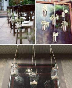 Country Wedding Decorations - love the hanging mason jars for outside