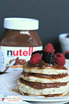 Nutella Cream Cheese Pancakes | This cream cheese Nutella filling is a fun alternative to syrup. See the recipe on TodaysCreativeLife.com