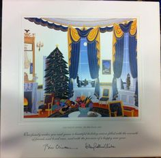"""President Bill Clinton and Mrs. Hillary Clinton chose """"The White House The Blue Room"""" for the 1995 large and small holiday cards from a painting by Thomas McKnight especially for the White House.  The inner and outer envelopes are intact.   The sentiment reads """"Our family wishes you and yours a beautiful holiday season filled with the warmth of friends and loved ones, and with the promise of a happy new year"""" over the printed signatures of Bill Clinton and Hillary Rodham Clinton."""
