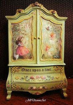 Hand-painted Pink Sleeping Fairy Bed with hand-sculpting and embroidery.  From the collection of Aubrienne Kry...