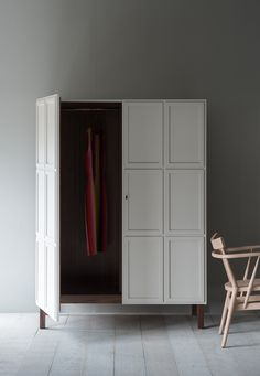 The Frey Armoire features paneled doors, which open to reveal timber-lined interiors. We offer a series of standard internal configurations, including hanging space, shelves and drawers.
