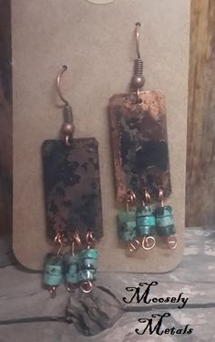 Oxidized copper earrings with turquoise accents Designed by: Moosely Metals