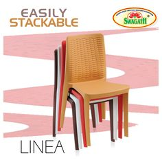 LINEA stackable monoblock chairs are moulded in virgin polypropylene with an attractive rattan design backrest. These chairs are suitable for various indoor and outdoor seating areas and are available in attractive colors. Check out more details and other information here at www.swagath.co !!