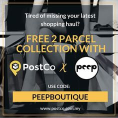 Nobody home to collect your parcels? Can't get them delivered to your office? With @postcomy you can pick up your @peepboutique parcels anytime at over 400 locations nationwide!  Get 2 parcel collection credits for FREE this Merdeka with code: PEEPBOUTIQUE at www.postco.com.my. Voucher expires 7th Sept 2017 so act fast & shop now! . . . #peepboutique #postco #postcomy #merdeka #merdekasale #shoppingroll #shopping #igmy #igmalaysia #onlineshopmalaysia #malaysiaonlineshop